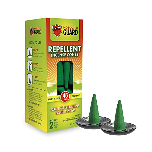 Mosquito Guard Mosquito Repellent Incense Cones (45 Cones) Made with Plant Based Ingredients: Citronella Oil, Lemongrass & Rosemary Oil - DEET Free - Includes 2 Ceramic Dishes