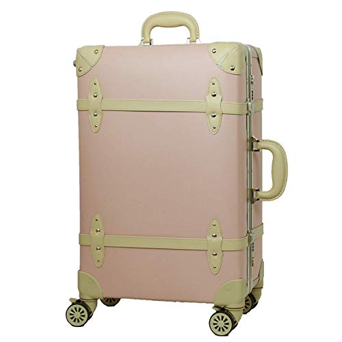 MOIERG(モアエルグ)キャリーバッグ キャリーケース スーツケース アルミフレーム 軽量 修学旅行[71-22020-31] (M, ピンク)