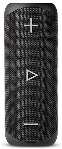 Sharp GX-BT280 (BK) Stereo-Bluetooth-Lautsprecher - kräftiger Bass - hochdynamischer Klangbereich / 12 Stunden Spielzeit/ Staub-Spritzwassergeschützt/ Mikrofon für Telefonate, Google & Siri - Schwarz