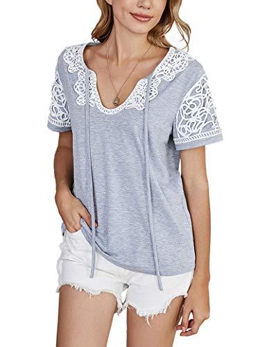 FDSNFV Camiseta de Manga Corta para Mujer, Correas de Costura de Encaje, Bowknot, hogar, Casual, Homewear