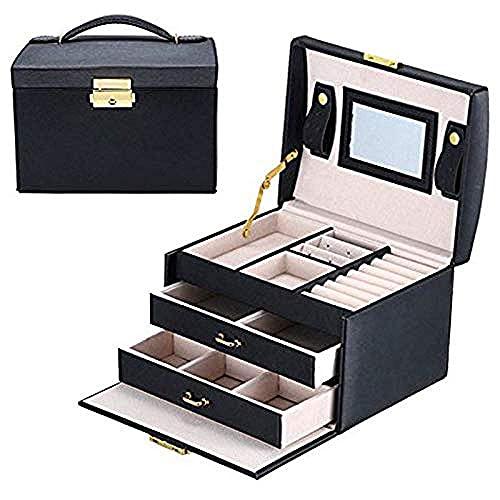 SHUMEISHOUT Jewelry Box- Organizador de Joyas de niñas, Mini Estuche Espejo, con Bloqueo, Negro