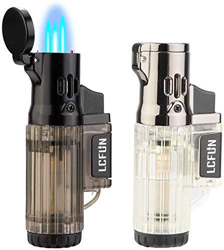 Torch Lighter 2 Pack Quad Jet Flame Lighter Refillable Butane Lighter 4 Jet Torch Lighters-Butane Not Included (Black & Beige)