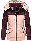 Marikoo Damen Winterjacke Outdoor Funktionsjacke mit Abnehmbarer Kapuze Sumikoo Weinrot Gr. M
