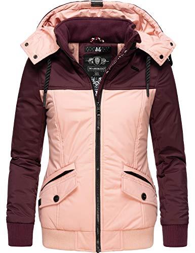 Marikoo Damen Winterjacke Outdoor Funktionsjacke mit Abnehmbarer Kapuze Sumikoo Weinrot Gr. S