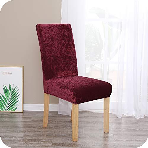 Amazon Brand – Umi Fundas para sillas de Comedor elásticas Suave Rojo(Juego de 6)