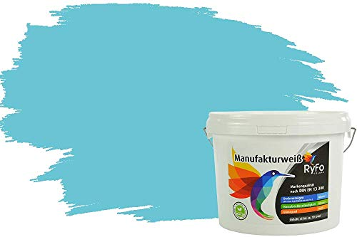 RyFo Colors Bunte Wandfarbe Manufakturweiß Karibik 3l - weitere Blau Farbtöne und Größen erhältlich, Deckkraft Klasse 1, Nassabrieb Klasse 1