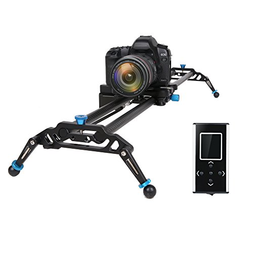 """GVM Motorized Camera Slider DSLR Dolly with Automatic Looping Real Time Shooting Time Lapse Shots, Very Light Carbon Fiber 31"""" 80cm"""