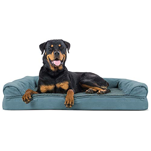 Furhaven Orthopedic Pet Bed for Dogs and Cats - Sofa-Style Plush Fur and Suede Couch Dog Bed with Removable Washable Cover, Deep Pool, Jumbo (X-Large)