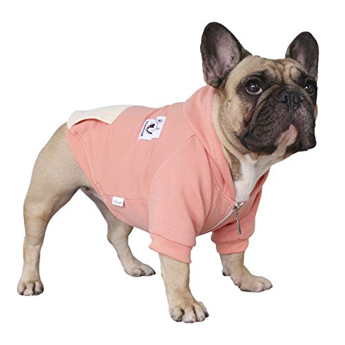 iChoue Pet Clothes Dog Hoodie Hooded Full-Zip Sweatshirt French Bulldog Frenchie Shiba Inu Cotton Winter Warm Coat Clothing - Pink/Size M