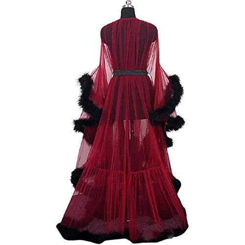LLKJT Women See-Through Sexy Feather Robe Mesh Sheer Lace Nightwear Kimono Dressing Gown with Feather Trim with Ruffle Trim Long Sleeve Tulle Lingerie Robe Party Sleepwear,Wine red,One Size