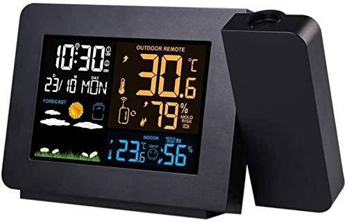 SGSG Wetterüberwachungsstationen Uhren Wetterüberwachungsuhren Wetterstation mit Projektion DCF-Funksteuerungskalender 7 Sprachen Hintergrundbeleuchtung Wecker