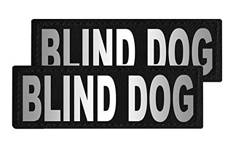 Dogline Blind Dog Vest Patches – Removable Blind Dog Patch 2-Pack with Reflective Printed Letters for Support Dog Vest Harness Collar or Leash Size C (2