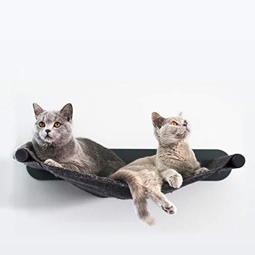 LucyBalu Katzen Hängematte Swing Wandliege 65 x 10 x 35 cm I Pulverbeschichtetes Metall und natürlicher Wollfilz (Anthrazit - Anthrazit)