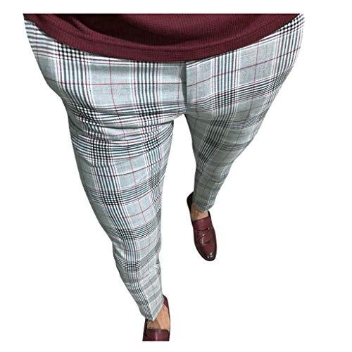 Reooly Pantalones de Cintura elástica con Estampado de Cuadros Escoceses Ocasionales de los Hombres Pantalones(Rojo,XX-Large)