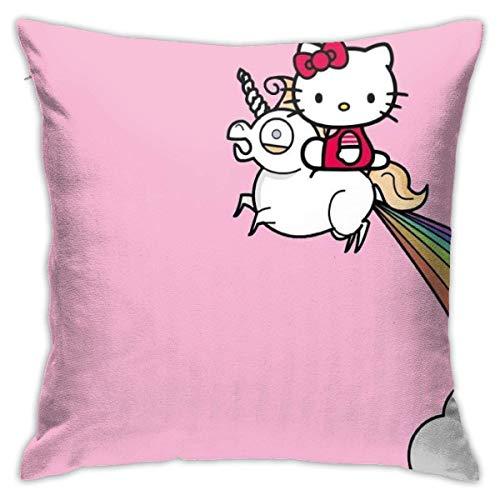 ChenZhuang Funda de cojín de Hello Kitty con unicornio, funda de almohada decorativa para sofá, coche, funda de almohada suave, 18 x 18 pulgadas