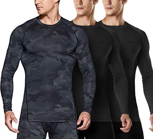 TSLA Camiseta de compresión de manga larga para hombre Cool Dry Fit Athletic Workout, Active Sports Base Layer, Hombre Mujer Niños Niñas Unisex niños, Mud21 - Pack de 3 unidades, color negro, small