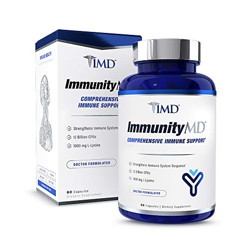 1MD ImmunityMD - Immune Health Probiotic | Potent, Clinically Studied Probiotic Strains with Prebiotic Fiber - Promote Overall Immune System Strength, Reduce Stress and Anxiety | 60 Capsules