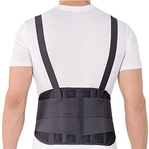 TOROS-GROUP Faja para la espalda con tirantes, apoyo lumbar, culturismo/halterofilia/levantamiento de pesas Unisex Large Negro