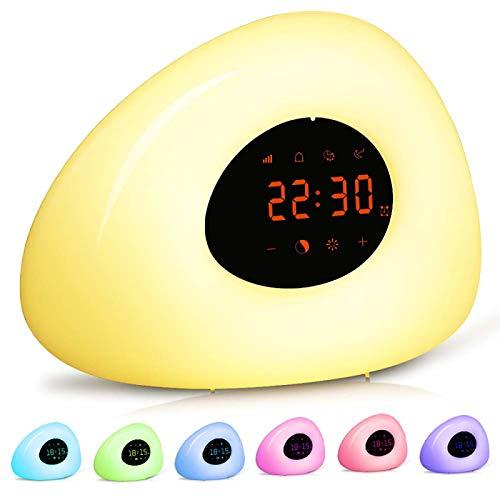 Despertador LED con luz de despertador, despertador de amanecer, despertador de terapia con simulación de amanecer, 7 sonidos naturales y repetición para dormitorios de niños adultos
