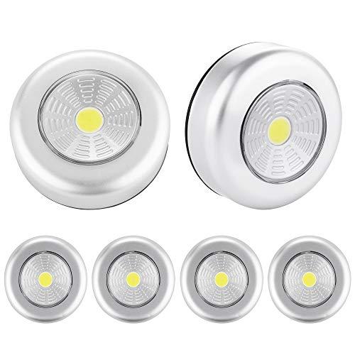 SOAIY [6 PCS] Luz de noche alimentada por baterías con Pulsador, Sin cable en el armario, cocina, pasillos, escaleras, habitaciones infantiles, garajes, baúles para automóviles (6 PCS-COB)