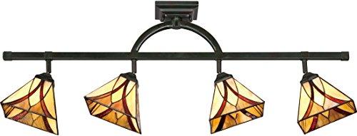 "Quoizel TFAS1404VA Asheville Tiffany Adjustable Track Light Kit, 4-Light, 400 Watts, Valiant Bronze (14"" H x 44"" W)"