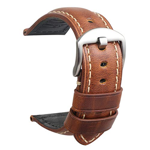 HVDHYY Uhr Armband Leder Herren Panerai Vintage Ersatzband Silber Stahlschnalle für alle Arten Traditionelle Sportuhren Zubehör 22mm Braun