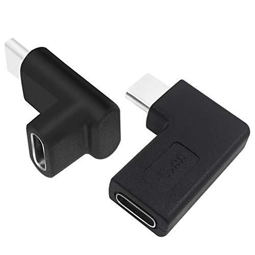 AFUNTA 2 piezas 90 grados USB C tipo C macho a hembra adaptador (doblado/negro2)