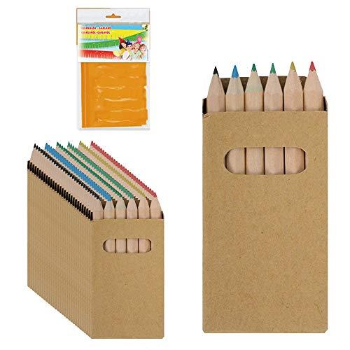 Piñatas de Cumpleaños Infantiles Partituki. 25 Sets de 6 Lapices para Colorear y una Guirnalda (Color Aleatorio) de 20 m. Ideal para Detalles Cumpleaños Infantiles y Regalos Cumpleaños Niños Colegio