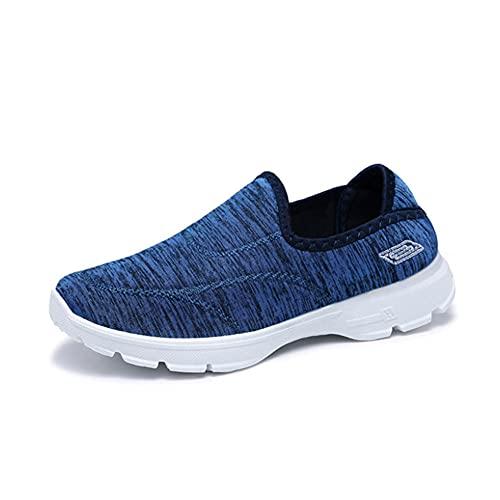 ERLINGO Zapatos de senderismo para mujer, sin cordones, ligeros, de rayas, deportivas, informales, tenis para mujer, zapatos planos transpirables, antideslizantes, color Azul, talla 36 EU