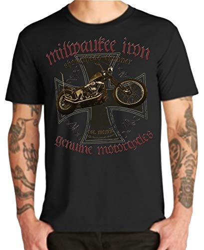 Milwaukee Iron Legends Chopper Bobber V2 - Camiseta de motorista Shovelhead Cross...