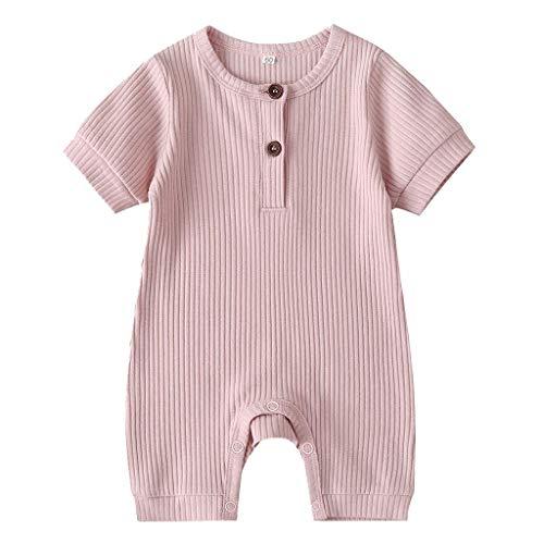 Eastery Kinder Baby Kurzarm Jumpsuit Einfarbig Strampler Sommer Madchen Jungen Einfacher Stil Bodysuit Kleidung Geburtstag Geschenk Taufkleid (Color : Rosa, One Size : 60-70)
