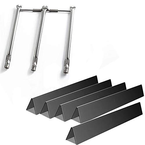 Rejekar Grill Parts for Weber Spirit 300 Series, Porcelain Steel 15.3 inch 7636 Flavorizer Bars & 18 inch Burner Tube Set 69787
