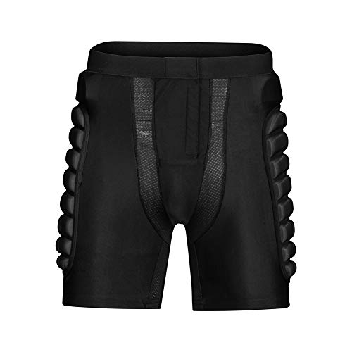LXC Fußball Kollisionsschutz Shorts Baseball Mann Gepolsterte Kompression Schutzhose (Color : Black, Size : XXL)