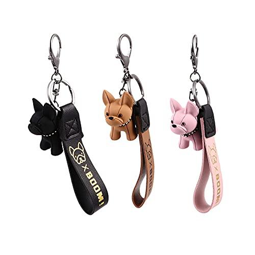3 Piezas Llavero Bulldog Francés, Llavero de Bulldog Francés, Llavero Bulldog de Moda, para Mujeres, Hombres, Bolsa, Mochila, Coche Llavero, Decoración de Bolsos