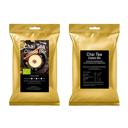 C&T Bio Fairtrade Chai Latte Teegetränk Instant Getränkepulver - leckeres BIO Heiß- oder Kaltgetränk 1000g