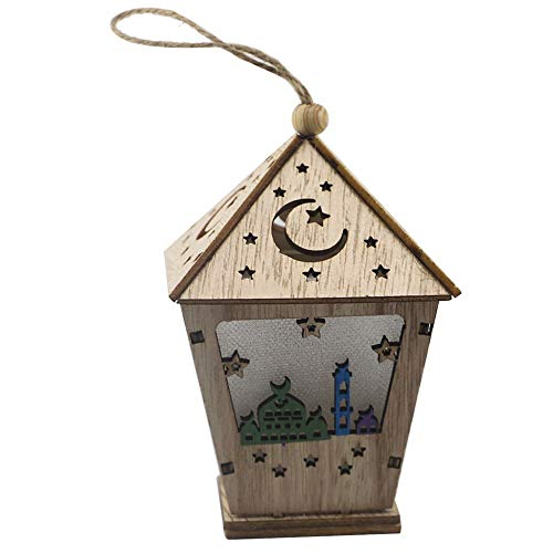Eid Mubarak Led Light Ramadan Hanging Lamp Wooden Ornament with House Shape Craft for Home Wall Decoration (A)