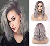 Vébonnie, Parrucca a caschetto da donna, capelli ricci sintetici e corti con radici scure, senza pizzo, colore grigio