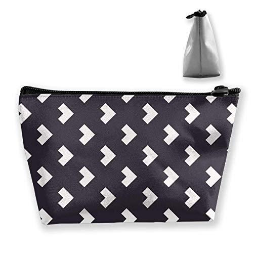 Pfeilmuster Vinylboden Graue Schminktasche Große trapezförmige Aufbewahrung Reisetasche Waschen Kosmetikbeutel Stifthalter Reißverschluss Wasserdicht