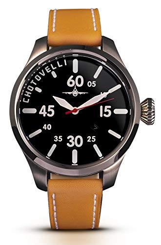 Chotovelli Retro Pilot Watch Sapphire Italian Leather Strap Men's 5202