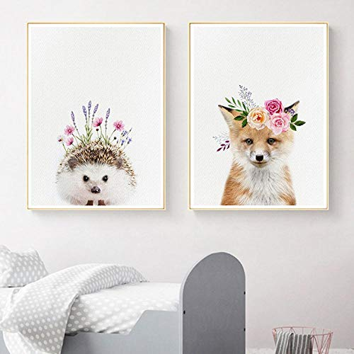 yingmin Baby Hedgehog with Flower Crown Canvas Posters Nursery Wall Art Print Woodland Animals Fox Painting Pictures Baby Room Decor 30x40 cm No Frame