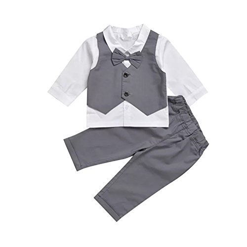 TJTJXRXR Infant and Toddler Baby Boy Gentleman Formal Party Wedding Suits Outfits (6-12Months, Grey)