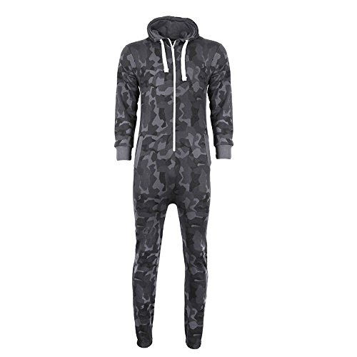 Mens Camo Camouflage Onesie Hooded Zip Playsuit All in One Piece Jumpsuit Adult Size Aztec Print Hoodie