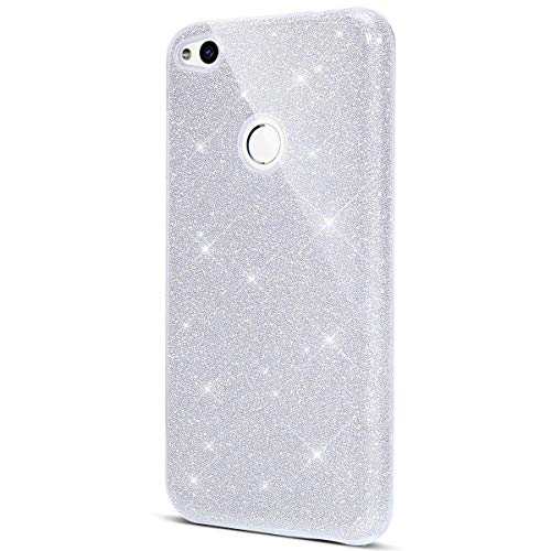 Surakey Cover Compatibile con Huawei P8 Lite 2017, Custodia in Silicone Brillantini Glitter Premium Ibrida Gel Case [Design 3 in 1] Sottile PC Paillettes Bling Protettiva Cover,Argento