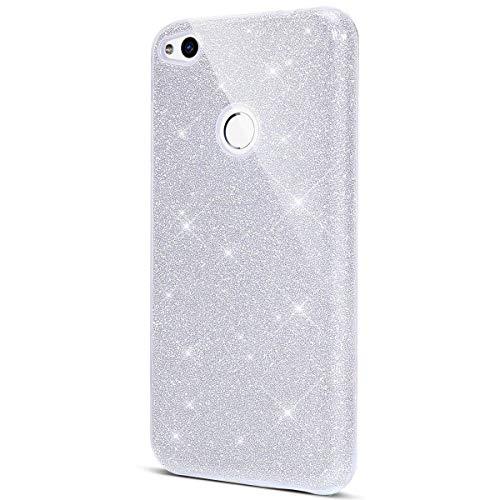 Surakey Cover Compatibile con Huawei P8 Lite 2017, Custodia in Silicone Brillantini Glitter Premium Ibrida Gel Case [Design 3 in 1] Sottile PC Paillettes Bling Protettiva Cover,Argento