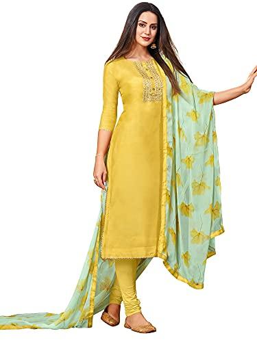 AKHILAM Women's Jacquard Cotton Silk Unstitched Straight Salwar Suit Dress...