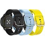 MoKo Correa Compatible con Galaxy Watch 3 41mm/Galaxy Watch Active/Active 2/Watch 42mm/Huawei Watch GT 2 42mm/Garmin Vivoactive 3, [3-PZS] 20mmPulsera de Silicona-Negro&Azul Claro&Amarillo