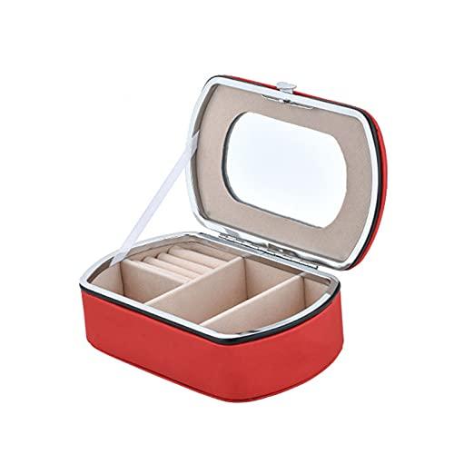 PYAIXF Mujer Organizador, Joyero para Mujer Caja De Almacenamiento De Joyería De PU De 6 Ranuras Espejo De Maquillaje Incorporado Botón De Metal para Reloj Pendientes-Red  14x8.5x5cm