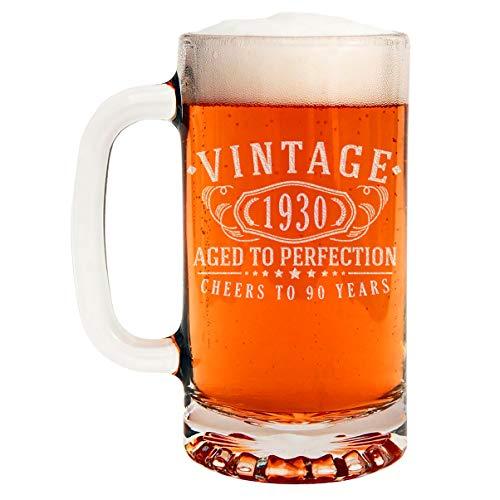 Vintage 1930 Taza de cerveza de vidrio grabada 16 oz – 90 cumpleaños envejecido a la perfección – 90 años de edad regalos