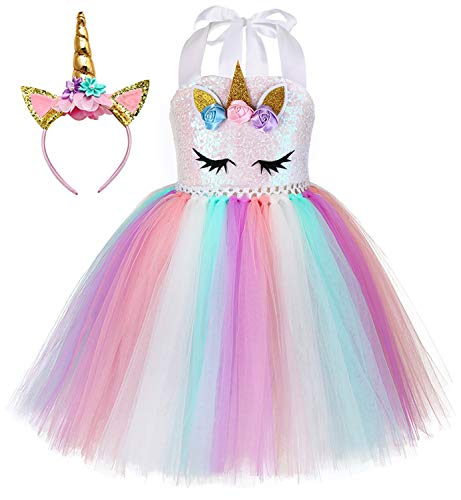 Tutu Dreams Unicorn Costume for Girls Halloween Princess Dress Sequin Rainbow Tutu Dresses Flower Girl Birthday Christmas Party (Sequin Unicorn, 5-6 Years)