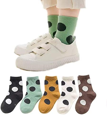 Stylish Cotton Socks Girl Boy Kids Toddler Casual with Polka Dots (Pack of 5) 1-3 years, 3-5 years,6-8 years, 9-12 years
